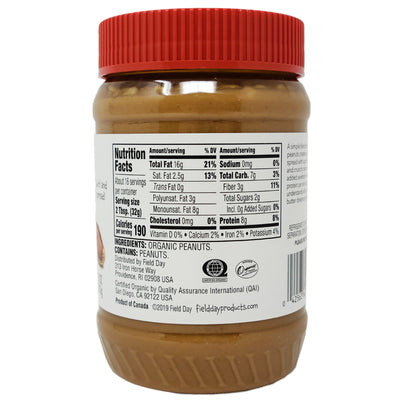 Field Day Organic Crunchy Unsalted Peanut Butter - 18 oz.
