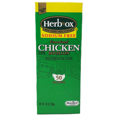 Herb-Ox Chicken Bouillon-50 Packets- Sodium Free-7.05 oz. - Healthy Heart Market