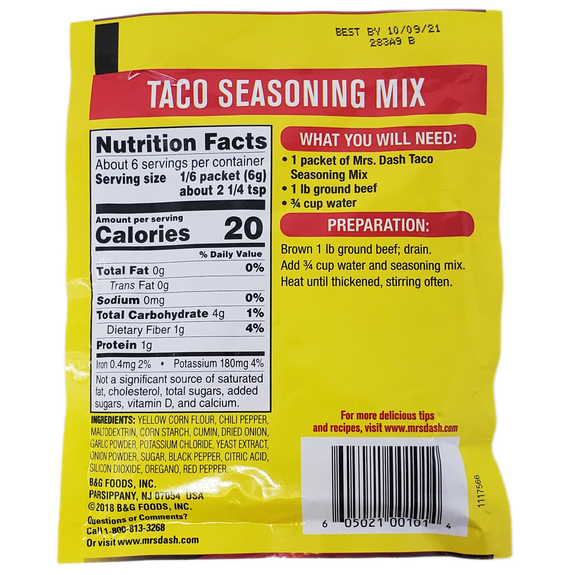 Mrs Dash Salt Free Taco Seasoning Mix 1 25oz Healthy Heart Market