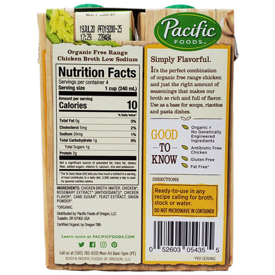4 pack - Pacific Organic Low Sodium Chicken Broth - 8oz. - Healthy Heart Market