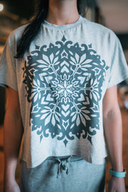 Adina mandala split back grey top