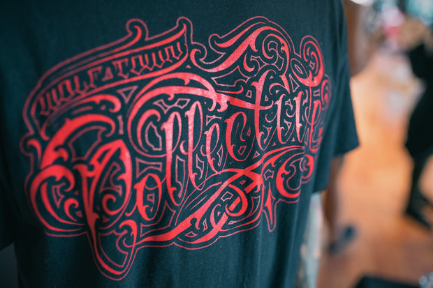 Proste red lettering black t-shirt