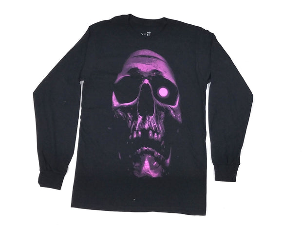 Ito666 pink skull black long sleeve t-shirt