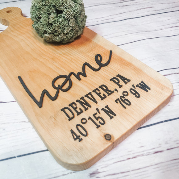 Custom Home Coordinates Bread Board (Decorative ONLY)
