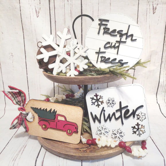 Red Truck Winter Tier Tray 4-piece Bundle