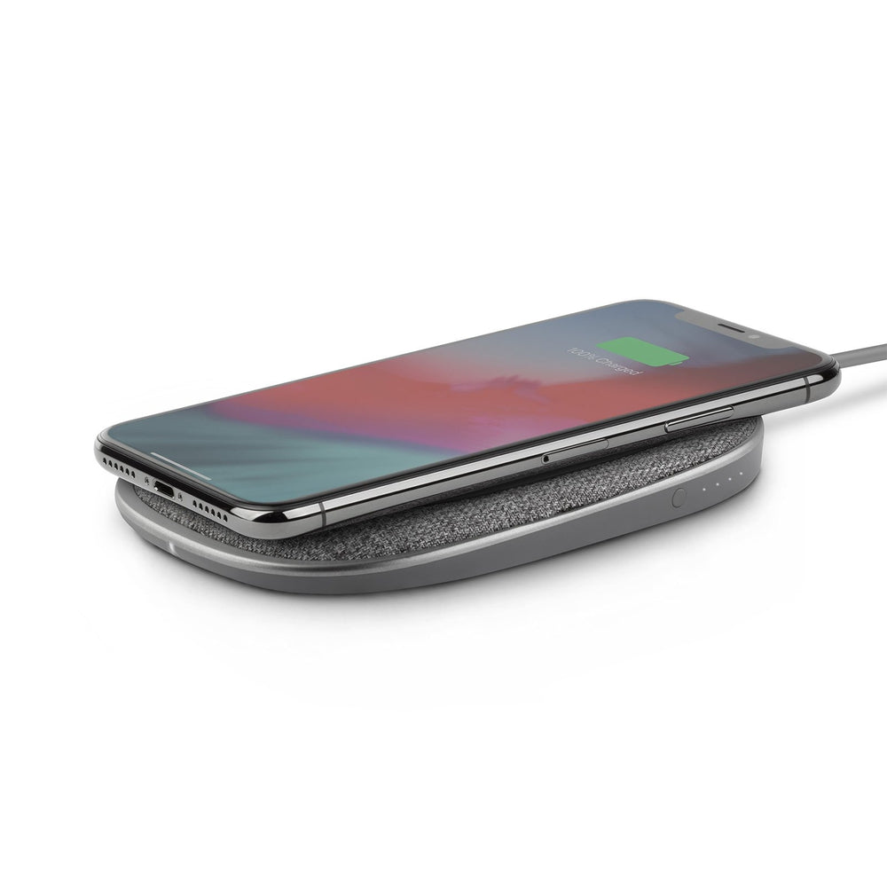 MOSHI Porto Q 5K Portable Battery 5,000 mAh with Built-in 10K Wireless Charger w/h USB-C and USB-A  - Nordic Gray