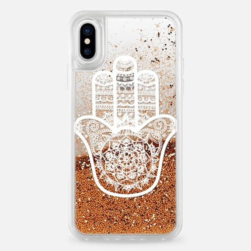CASETIFY Glitter Case Gold White Hamsa Hand for iPhone XS/X