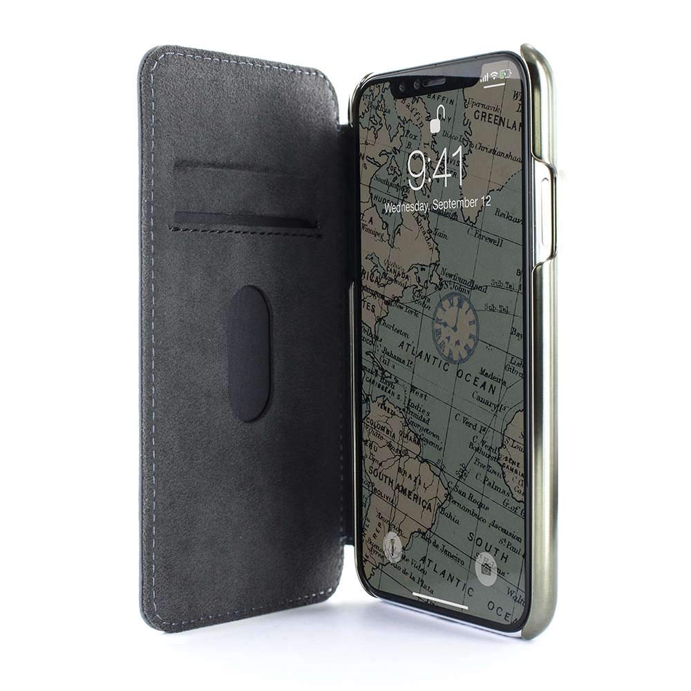 GREENWICH BLAKE Premium Quality Folio with Card Slot for iPhone XS/X Seal/Gunmetal Electroplated