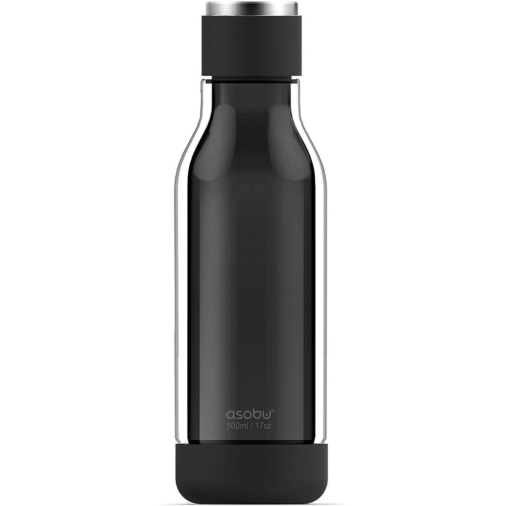 ASOBU Inner Peace Glass and Tritan Encased 17 Ounce Travel Water Bottle - Black