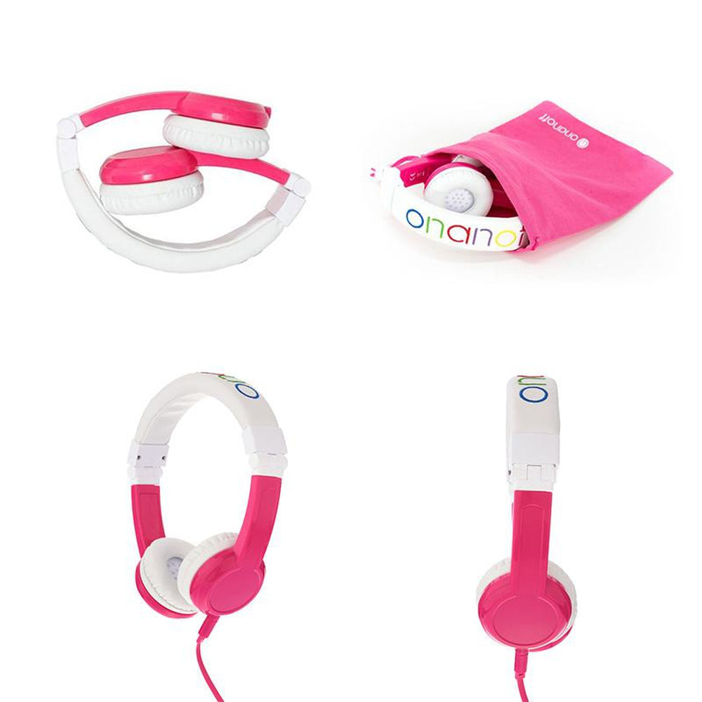 BUDDYPHONES Explore Foldable Headphones with Mic Pink
