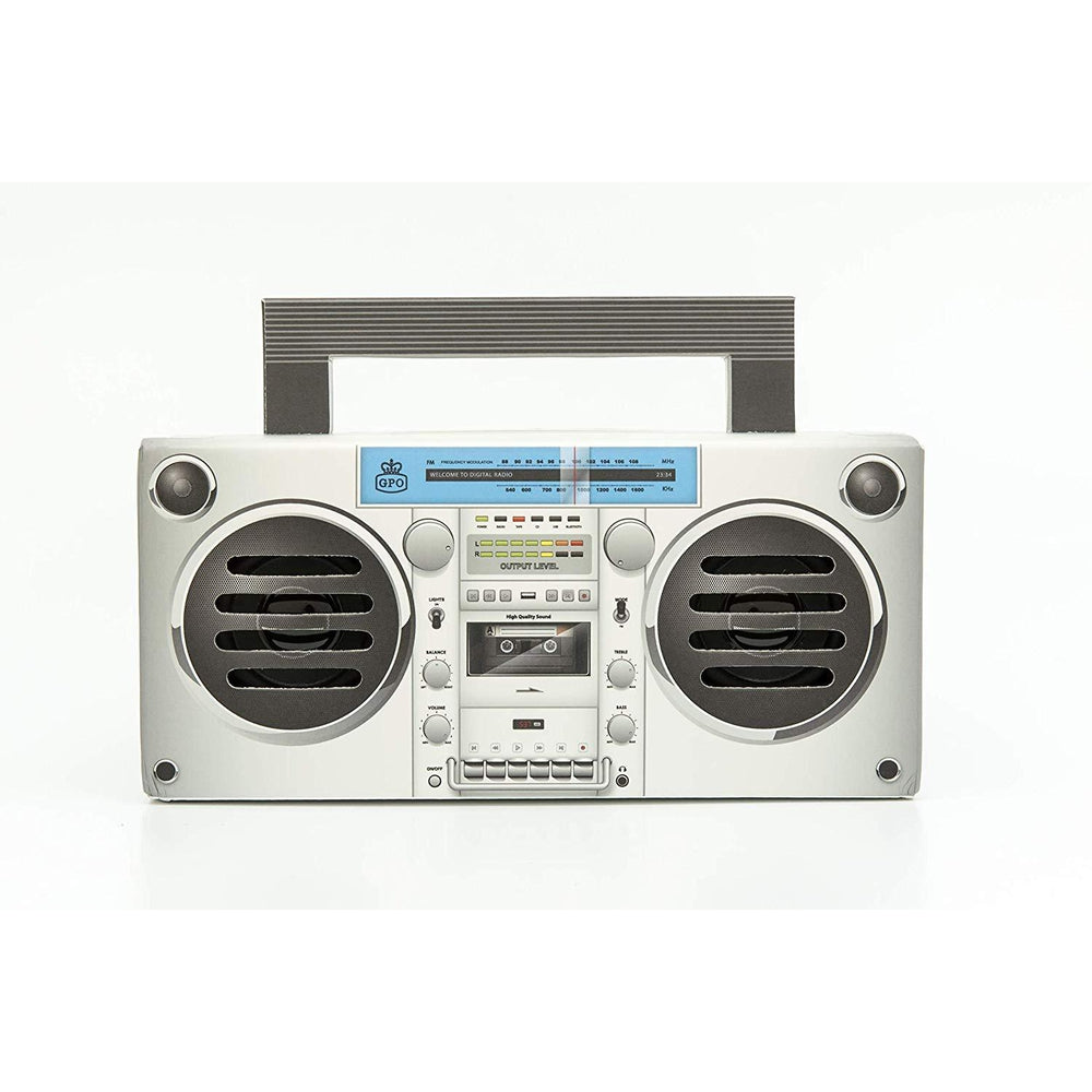 GPO Bronx Boombox Bluetooth Portable Speaker Silver