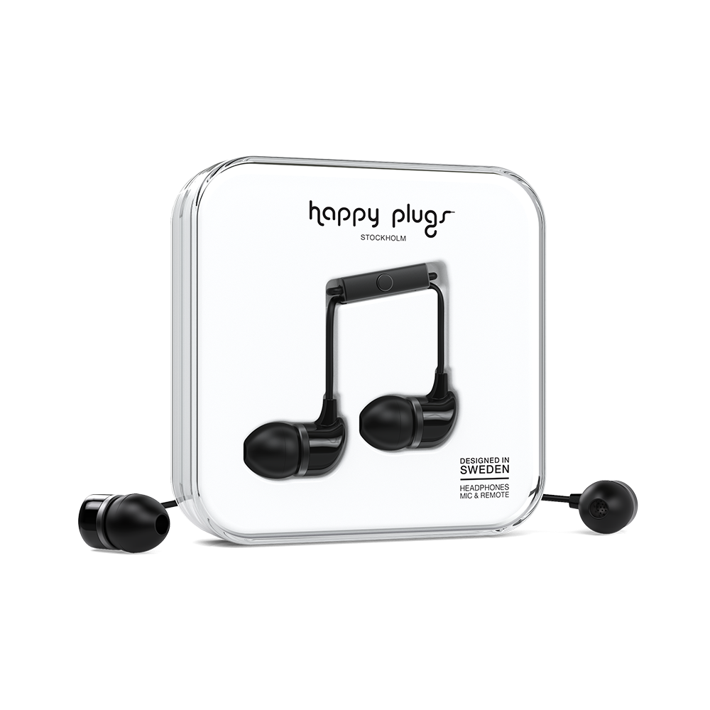 HAPPY PLUGS In-Ear Headphones Black