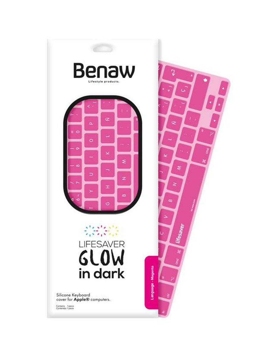 BENAW Glow in Dark Keyboard for Mac Air 11/13 and Pro 13/13r/15/15r Uk Magenta