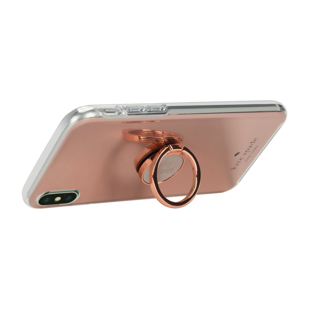 KATE SPADE Ring Stand & Protective Hardshell Case Scallop Rose Gold Glitter/Clear for iPhone XS Max