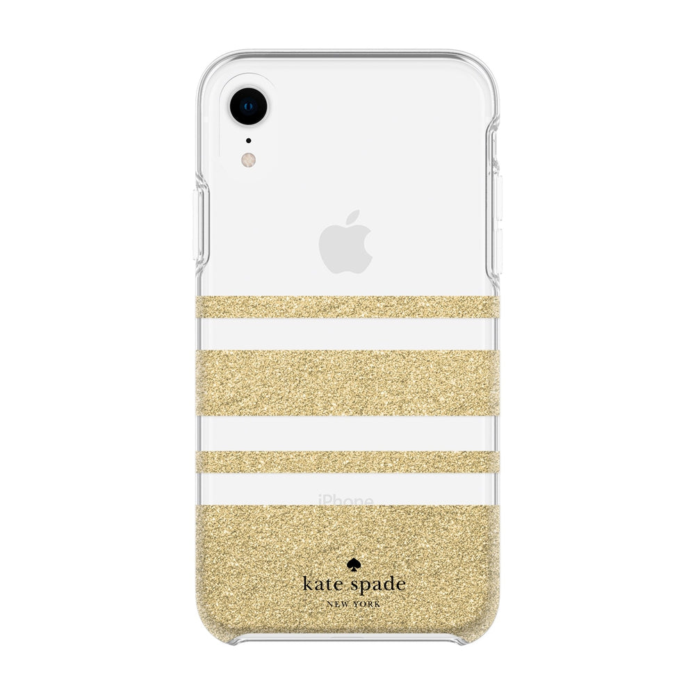 best cheap 6b09b 343ec KATE SPADE NEW YORK Protective Hardshell Case - Charlotte Stripe Gold  Glitter / Clear For iPhone XR