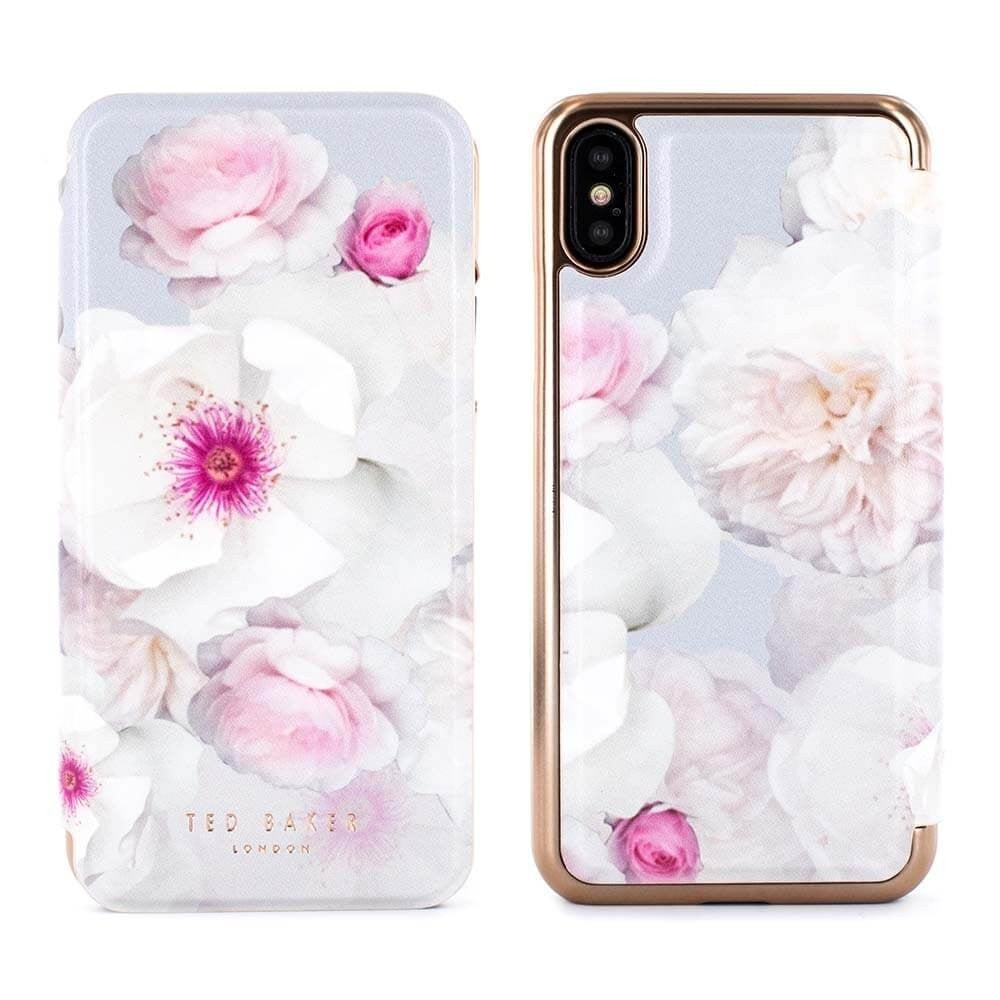 TED BAKER Mirror Folio Case Malibai Chelsea Grey For iPhone XS/X