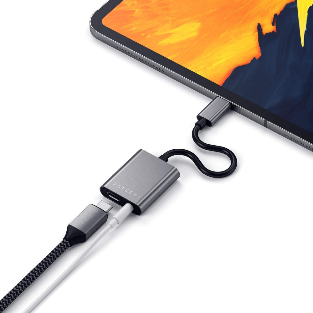 SATECHI Type-C to 3.5mm Headphone Jack Adapter with USB-C PD Charging - Space Gray