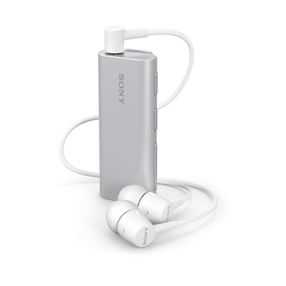 SONY Clip-Style Bluetooth Headset with Remote for Selfies Silver