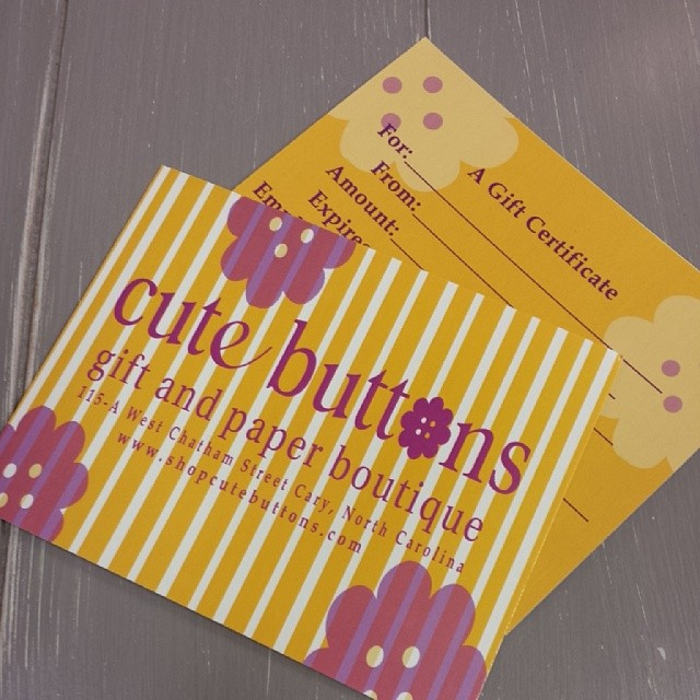 Cute Buttons Gift and Paper Boutique Gift Certificate