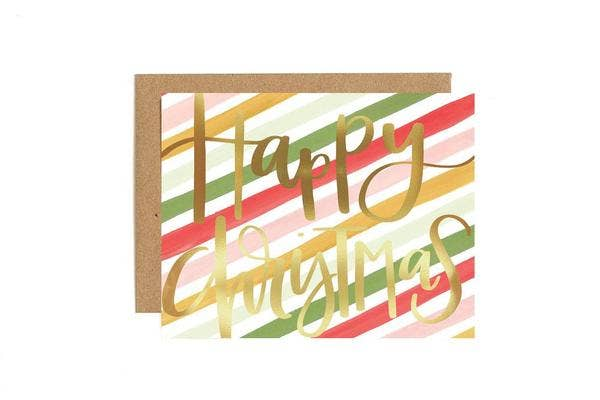 Christmas Stripes Greeting Card Stationery