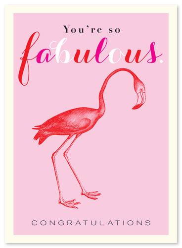 Congratulations Fab Flamingo Card by J Falkner