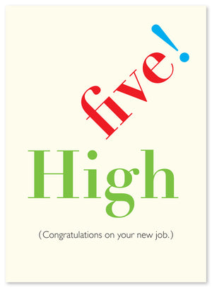 "Exclamations ""High Five"" New Job Card by J Falker"
