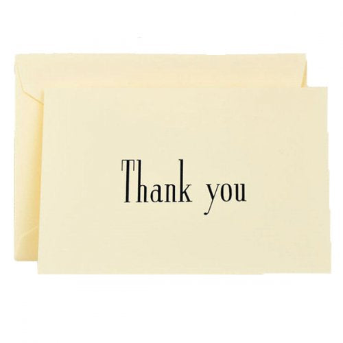 Crane & Co. Navy Thank You Notes on Ecru Kid Finish Paper
