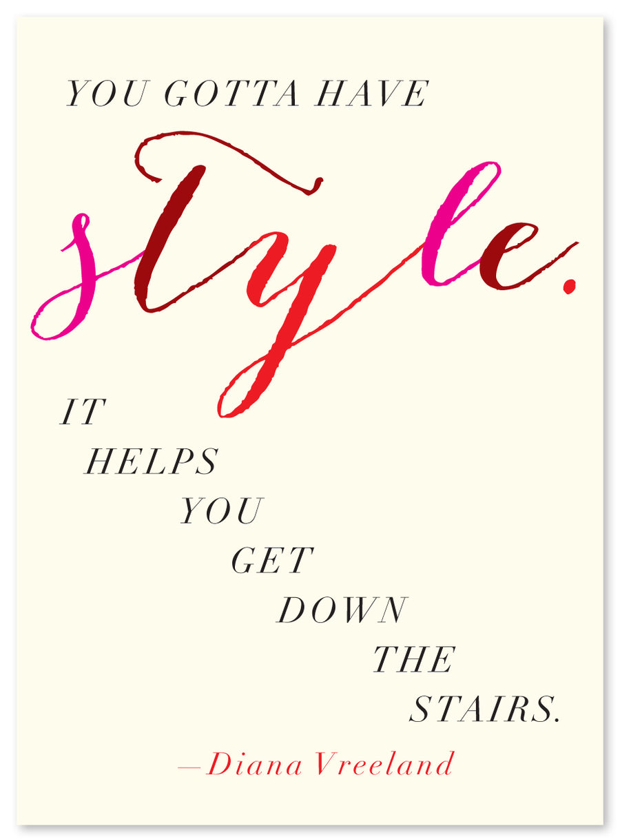 "Quote ""Style"", Diana Vreeland Card by J Falkner"