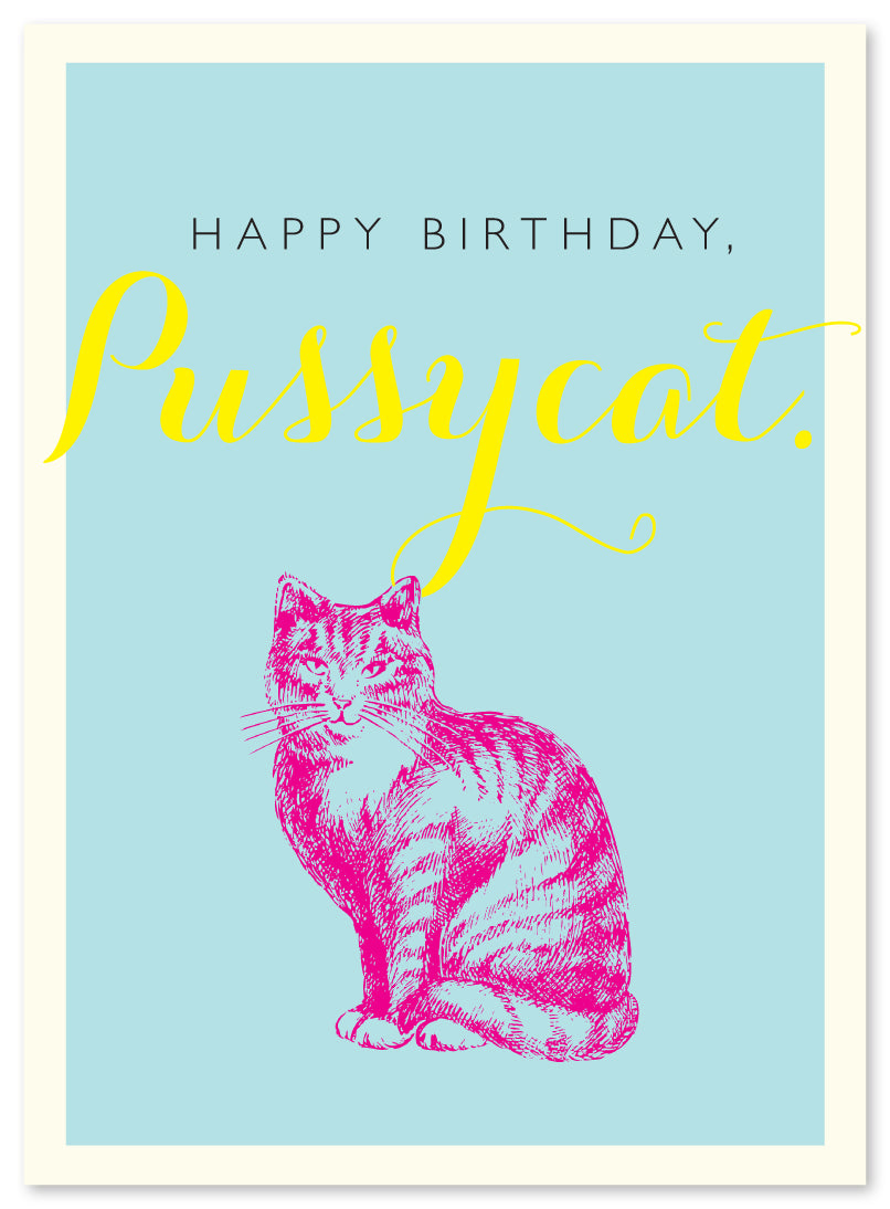 Birthday Pussycat Card by J. Falkner