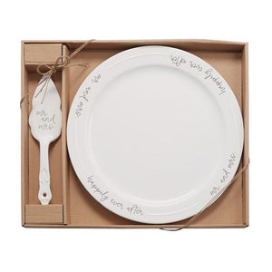 Mud Pie Mr. & Mrs. Cake Plate Set