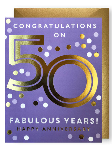 Gold 50th Anniversary Card by J. Falkner
