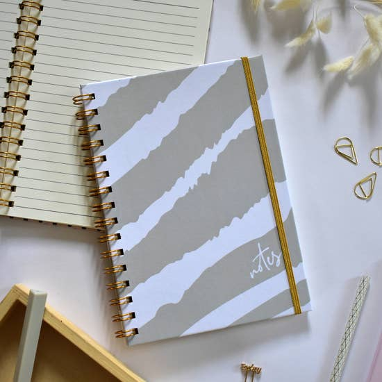 Spiral Bound Zebra Grey Journal