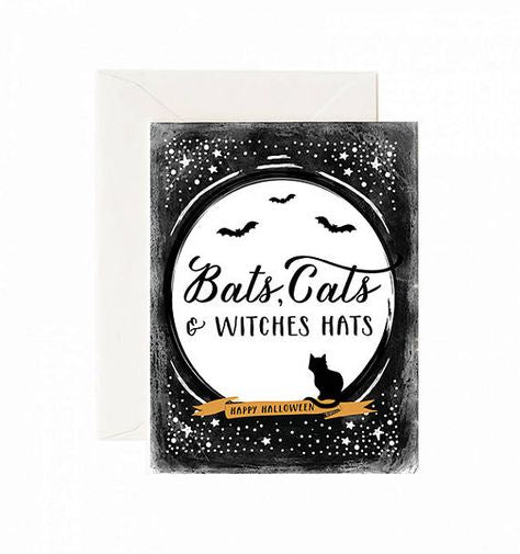 Bats, Cats & Witches Hats Halloween Card
