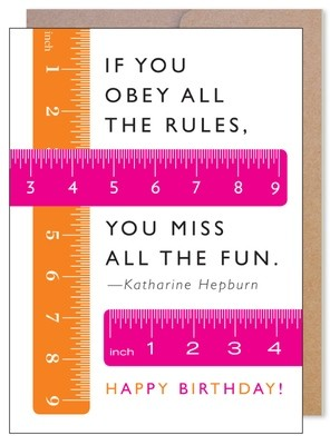 Rulebreaker Birthday Card by J. Falkner