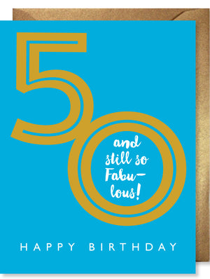 Gold Foil Fab 50 Card by J. Falkner