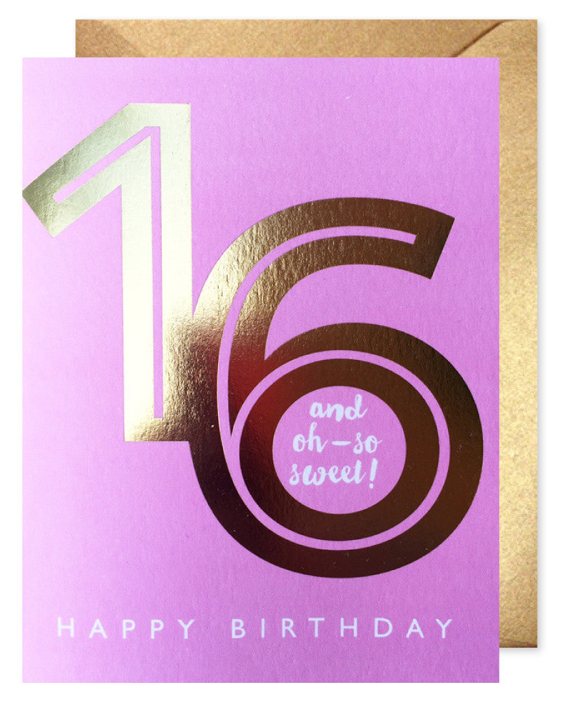 Gold Foil Sweet 16 Card by J. Falkner