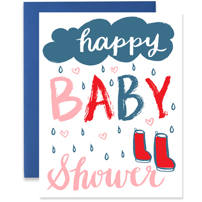 Baby Shower Rain Boots Greeting Card