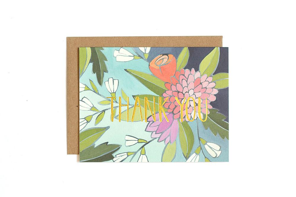 Floral Foil Thank You Card