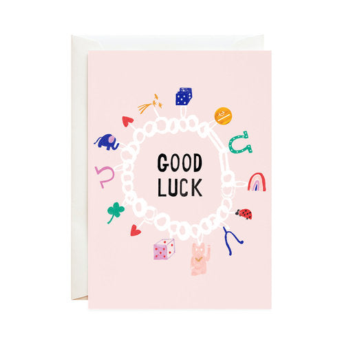 Lucky Cat and Clover - Good Luck Greeting Card
