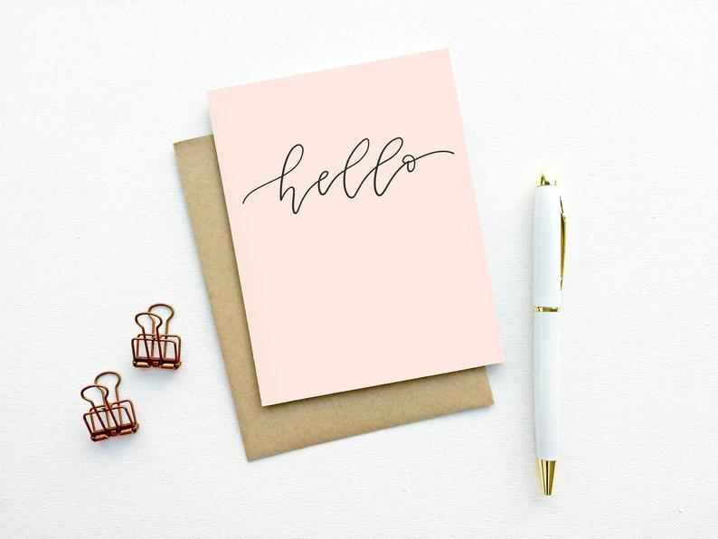 Blush Hello Script Hand lettered Card by Instead of Ashes