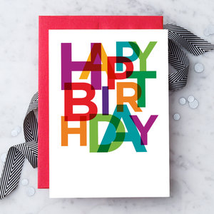 Happy Birthday Colorful Type Greeting Card