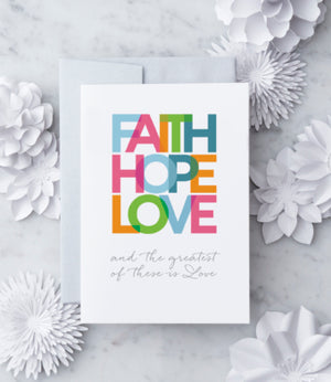 Faith, Hope, Love Wedding Card