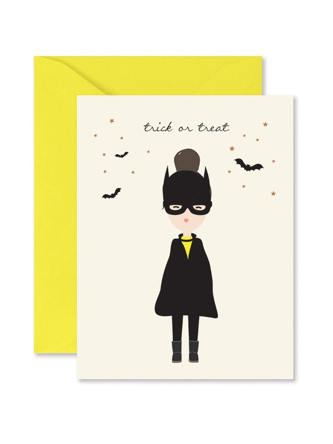 Bat Girl Halloween Card