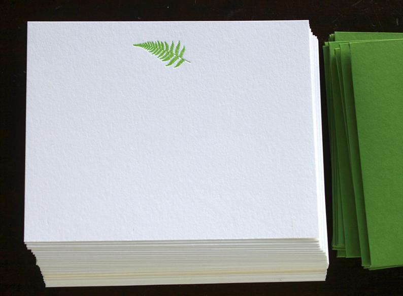 Flat Card Set with Letterpress Fern