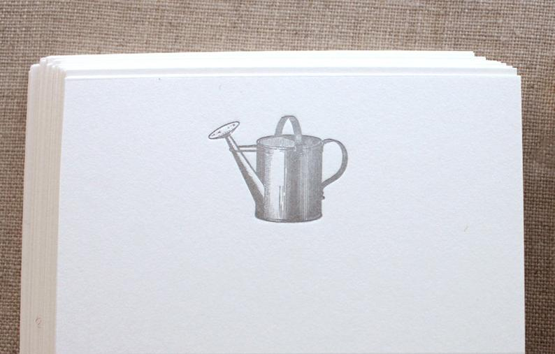 Flat Card Set with Letterpress Watering Can