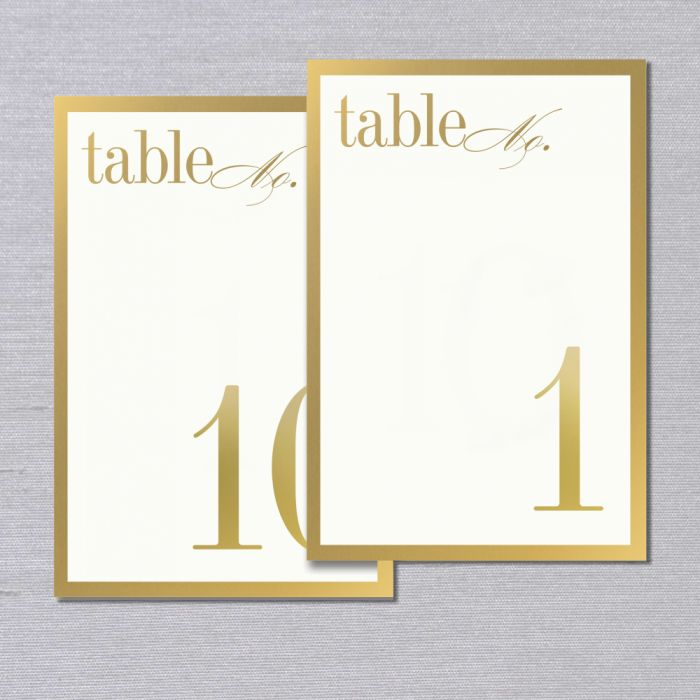 Vera Wang 1-10 Gold Bordered Table Cards