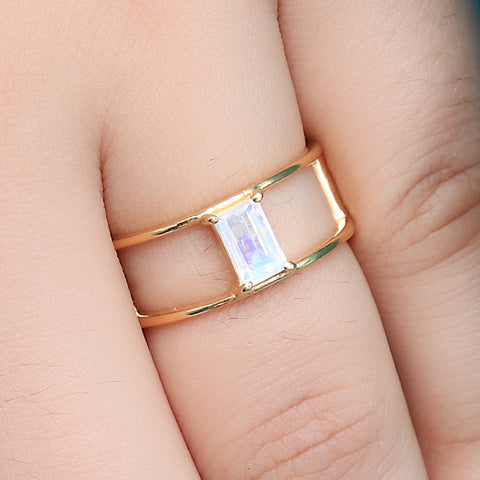 Yellow Gold Moonstone Engagement Ring
