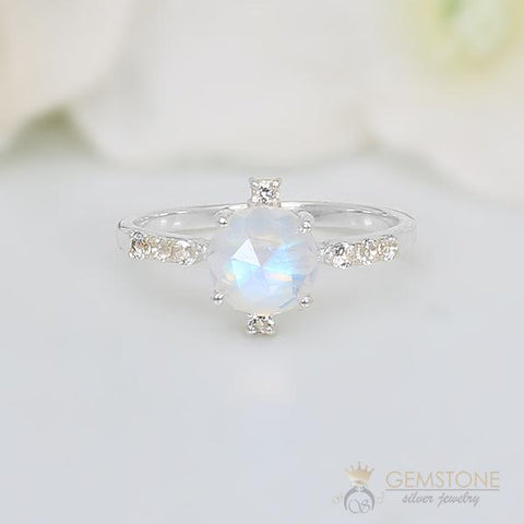 CZ and moonstone silver ring