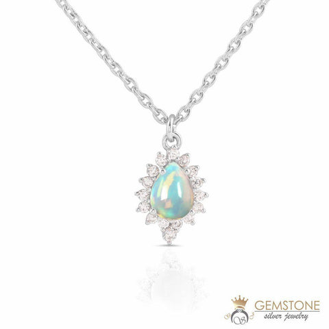 real opal necklace in sterling silver