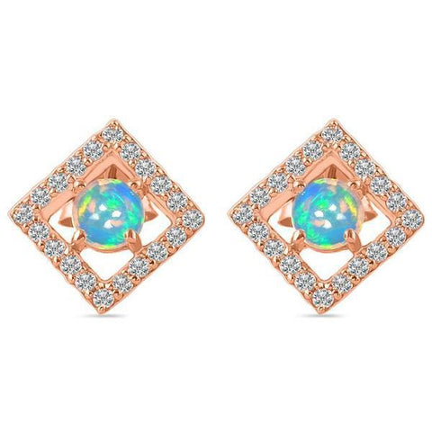 rose gold opal earrings in studs design